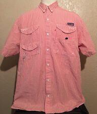 Columbia PFG Super Bonehead Men's XL Cotton Bright Peach Gingham Vented Shirt