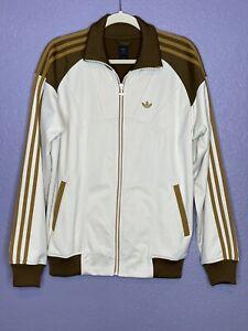 Men's Adidas Retro Track Jacket Brown & Cream Trefoil Logo Sz M