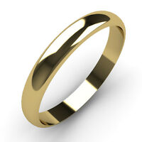 9ct Yellow Gold Wedding Ring 3mm Width D Shaped Band Fully UK Hallmarked (375)