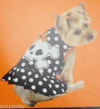 Halloween Black Orange Skeleton Skull Pet Dog Dress Costume Size XXSmall 6-8 in