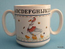 Mug Childs Double Handle Mother Goose Goslings Once Upon A Time Nursery ABC Vtg