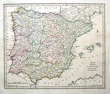 España, Portugal, Mallorca, Menorca, Ibiza antiguo mapa c1810
