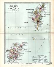 1890 MAP ~ COUNTIES OF SCOTLAND ~ ORKNEY & SHETLAND ISLADS ~ SHOWING PARISHES