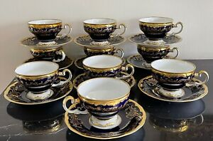 Weimar Porcelain 20003 Katharina Cobalt Blue & Gold Footed 10 Cups and Saucers