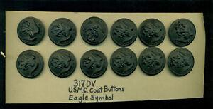 """12 USMC Coat Buttons - Alpha """"A"""" Dress Uniform - Black Eagle 1"""" Buttons"""