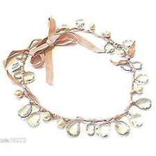 Ann Taylor Loft Women's Metallic Teardropl Pearl Ribbon Tie Necklace NWT 39.99