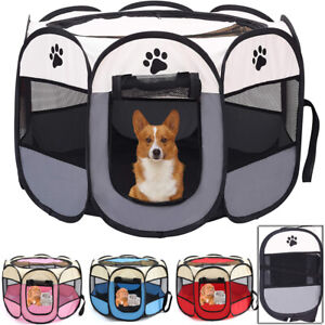 Foldable Pop Up Puppy Dog Pet Play Pen Travel Cage Crate Fabric Run Panels Tent