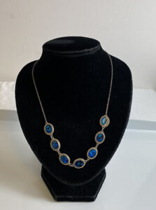 """Ladies Silver Tone With Mother Of Pearl 17"""" Necklace"""