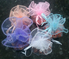 10 x Round Organza Gift Bags Packaging White, Pink, Peach, Purple