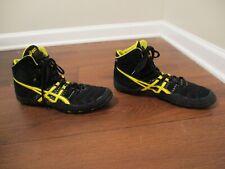 Used Worn Size 10.5 Asics Dan Gable 4 Wrestling Shoes Black Yellow