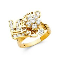 Sweet 15 Ring Solid 14k Yellow Gold Quinceanera CZ Motion Style Moveable Fancy