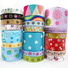 """3/8""""5/8""""7/8""""1""""1.5"""" Mixed Flower Dots Grosgrain Ribbon Craft 20 Yards 20 Styles"""