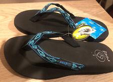 REEF Ginger Women's Flip Flops Size 6 Black/Turq/Aqua  NWT( Squishy Sole)
