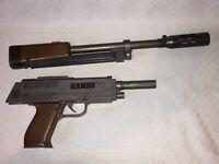 ARCO VINTAGE RAMBO TOY HAND GUN W/LONG BARRELL SILENCER MADE IN HONG KONG RARE