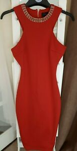 SIZE 10 RED HALTERNECK BODYCON DRESS WITH SPARKLY NECKLINE DETAIL GOOD CONDITION