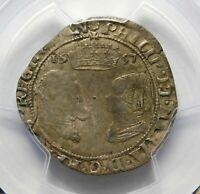 PGCS XF. IRELAND. Philip & Mary. AR Groat ca. 1557. English Silver Coin.