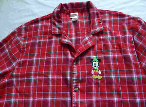 Mickey Mouse Sleeping Cap Red Plaid Flannel Night Shirt - Large Mens Disney