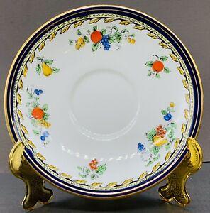 VTG ANYSLEY (c. 1925) Fruit Blue|Gold Encrusted Tea Cup Saucer - England ~ MINT