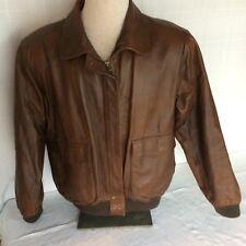 Aeropostale Compagnie Generale Women's  LGE Brown Leather Coat Jacket Zipper