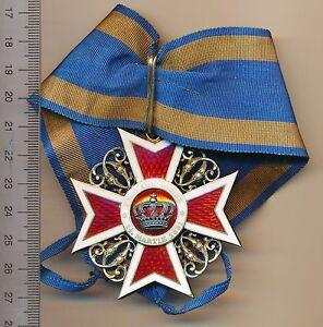 ROMANIA Order ROMANIAN Crown CIVIL Silver OFFICER WW1 I Medal COMMANDER 1881