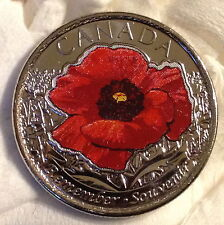 2015 Colourized Poppy Quarter - 25cent