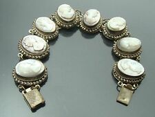 "Antique Victorian Filigree 800 Silver, 8 Link, 7.5"" Carved Shell Cameo Bracelet"