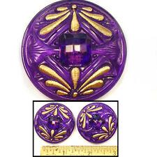 Reduced! 42mm Vintage Czech Glass 2-DRAGONFLY Art Nouveau Purple Buttons 2pc