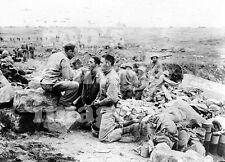 Iwo Jima Photo US Marines with Chaplin Priest On The Beach  South Pacific WWII