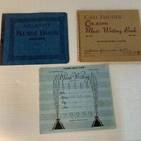 3  Music Score Writing Tablets Mozart Belwin Fischer Music Book Blank Vintage