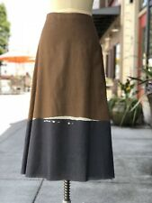 Designer THE ROW  Brown & Grey 100% Cotton Long Skirt Size 4 Made in The USA