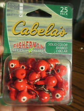 25 Pack - Cabela's Red Hook Roundhead Jigheads 1/4 oz BRIGHT RED