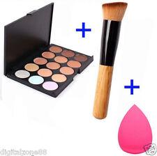 15 Colores Contorno Crema Facial Maquillaje Corrector Paleta+Esponja