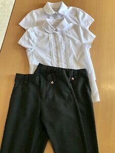 Age 9-10 Yrs GIRL School Uniform Bundle 2 White Blouses NEW 2 Grey Trousers USED