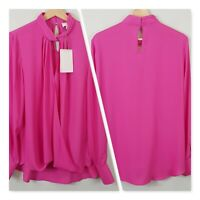 [ WITCHERY ] Womens Fuchsia Crossover Blouse Top NEW | Size AU 14 or US 10
