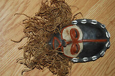 vintage African Dan Tribe Liberia Hand Carved Wood bearded Mask Cowrie shells