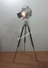 VINTAGE DESIGNER NAUTICAL SPOT LIGHT FLOOR  LAMP IN CHROME WITH BROWN TRIPOD