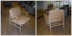 Ercol Von 427ACM  Armchair in  CLEAR MATT   Ash  &  Straw Leather