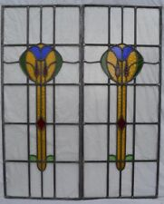 2 RESTORED British leaded light stained glass window panels. R694a. DELIVERY!!!