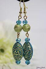 Glass Jewels Ohrringe Ohrhänger Gold Acrylperlen Party Hippie Boho Türkis #D019