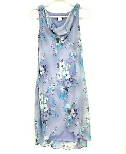 Alyn Paige Vintage Drape Cowl Neck Floral Dress Sheer Knee Length Women Size 7/8