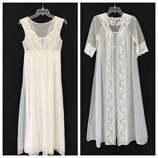 Vintage White Peignoir Set S 34 Chiffon Nightgown Robe Negligee Bridal Lingerie