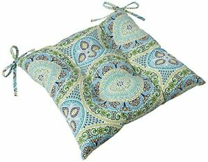 Pillow Perfect 609607 Outdoor/Indoor Delancey Lagoon Tufted Seat Cushions Squ...