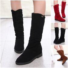 Womens Fashion Autumn Winter Slouchy Mid Calf Boots Cuff Hidden Heel Shoes New