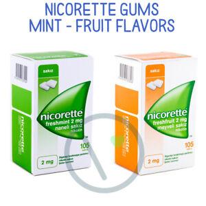 Nicorette Stop Smoking Gums 2mg 105ct Fresh Fruit & Fresh Mint Flavors Available