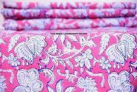 Indian Block Printed Fabric Cotton Natural Sanganer Vegetable Color 10 Yards