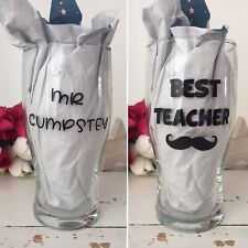 Handcrafted Personalised Pint Pot Beer Glass Great Gift Christmas For Teacher