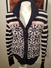 GAP Cardigan Sweater Size Small Cowl Shawl Lambswool Blend Navy Blue White Pink