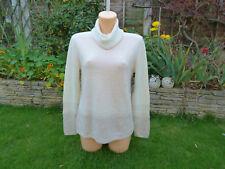 BNWT Pure Collection gassato Cashmere Bianco Naturale POLO SWEATER taglia 16