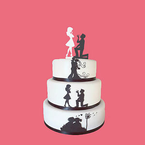 Black Fiance & White Fiancee Engagement Cake Toppers - high quality acrylic
