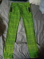 Tripp NYC Womens Plaid Skinny Pants Jeans Goth Punk Neon Green Black Size 3